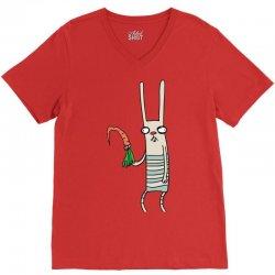 funny rabbit bunny holding a carrot V-Neck Tee | Artistshot
