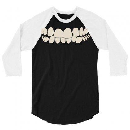 Crooked Teeth Smile 3/4 Sleeve Shirt Designed By Mdk Art