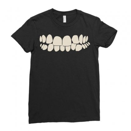 Crooked Teeth Smile Ladies Fitted T-shirt Designed By Mdk Art
