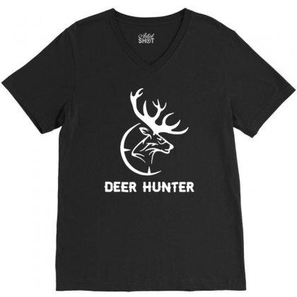 Deer Hunter V-neck Tee Designed By Tonyhaddearts