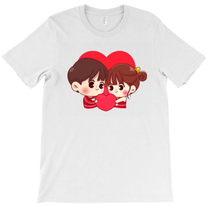 Lovers Couple Holding Read Heart Together Happy Valentine Cartoon Char T-shirt Designed By Kroos-sell