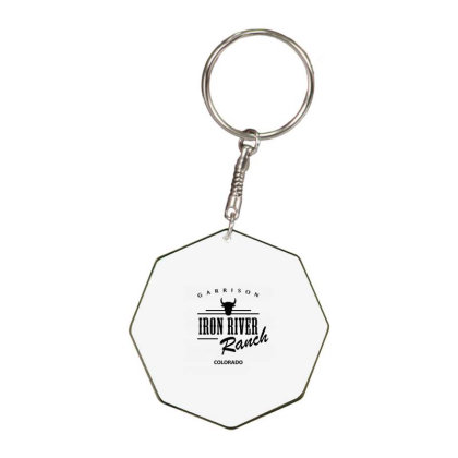 Iron River Ranch Octagon Keychain Designed By Planetshirts
