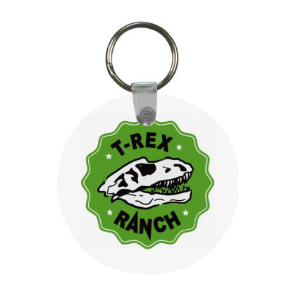 T Rex Ranch Frp Round Keychain Designed By Jablay