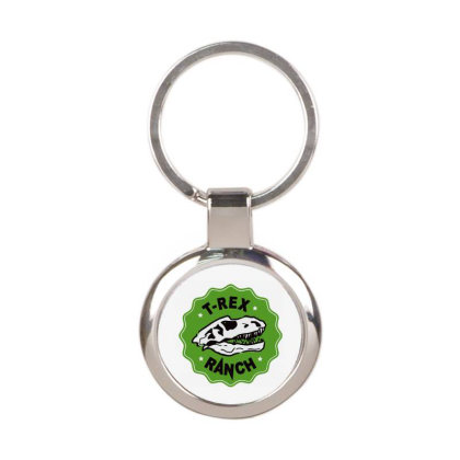 T Rex Ranch Round Keychain Designed By Jablay
