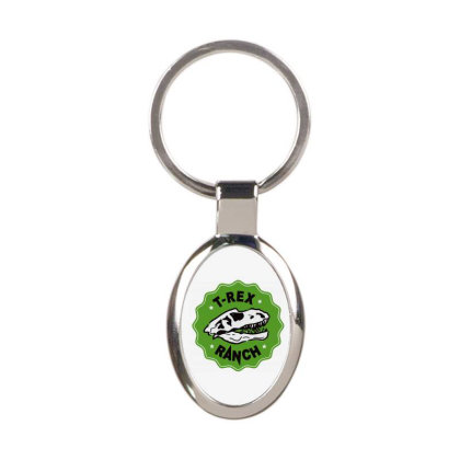 T Rex Ranch Oval Keychain Designed By Jablay