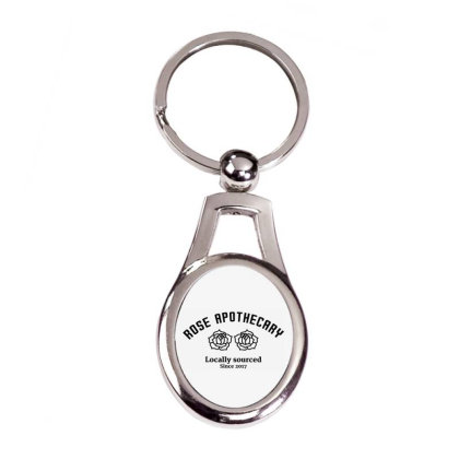 Rose Apothecary Silver Oval Keychain Designed By Jetstar99