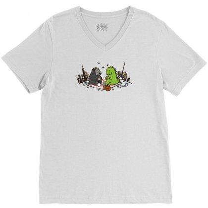 Godzilla By Kingkong Picnic V-neck Tee Designed By Gematees