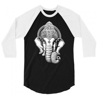 Ganesha  Hindu Yoga 3/4 Sleeve Shirt Designed By Tonyhaddearts