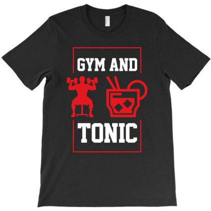 Gym And Tonic - Motivation Workout T-shirt Designed By Diogo Calheiros