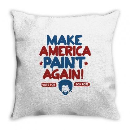 Painter Bob Ross Make America Paint Again Throw Pillow Designed By Mdk Art