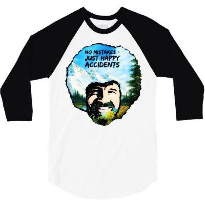Bob Ross Happy Accidents 3/4 Sleeve Shirt Designed By Mdk Art
