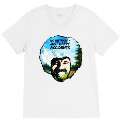 Bob Ross Happy Accidents V-neck Tee Designed By Mdk Art