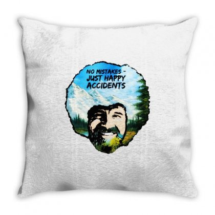 Bob Ross Happy Accidents Throw Pillow Designed By Mdk Art