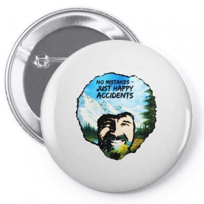 Bob Ross Happy Accidents Pin-back Button Designed By Mdk Art