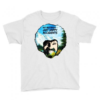 Bob Ross Happy Accidents Youth Tee Designed By Mdk Art