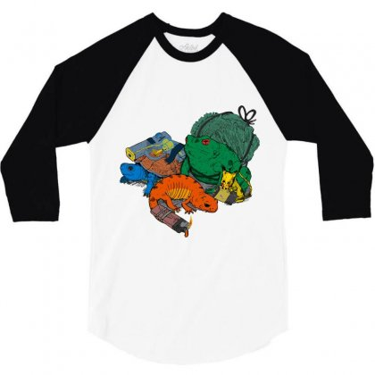 Backyard Pocket Monsters 3/4 Sleeve Shirt Designed By Iamar25