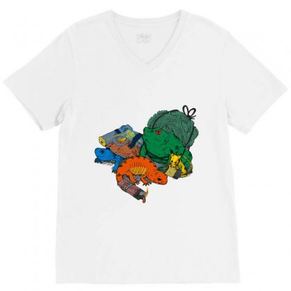 Backyard Pocket Monsters V-neck Tee Designed By Iamar25