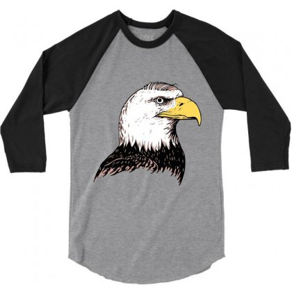 Bald Eagle 3/4 Sleeve Shirt Designed By Iamar25
