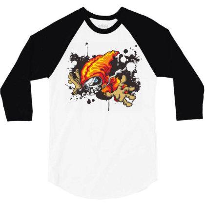 Grunge Skull Art 3/4 Sleeve Shirt Designed By Chiks