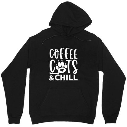 Coffee Cats And Chill White Unisex Hoodie Designed By Kahvel