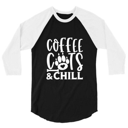 Coffee Cats And Chill White 3/4 Sleeve Shirt Designed By Kahvel