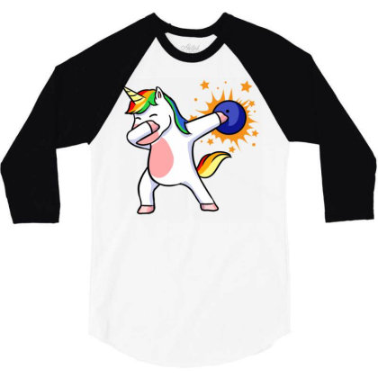 Bowling Unicorn For Bowling Player 3/4 Sleeve Shirt Designed By Ngiart
