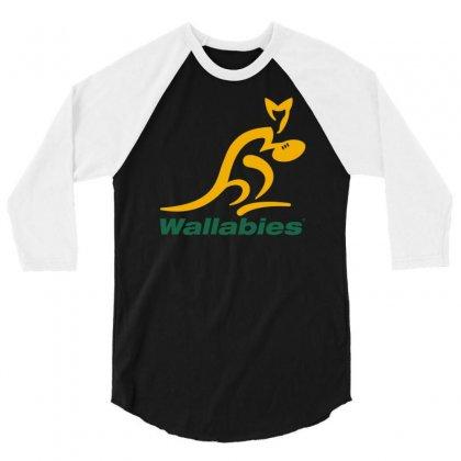 Wallabies Gold Logo 3/4 Sleeve Shirt Designed By Mdk Art