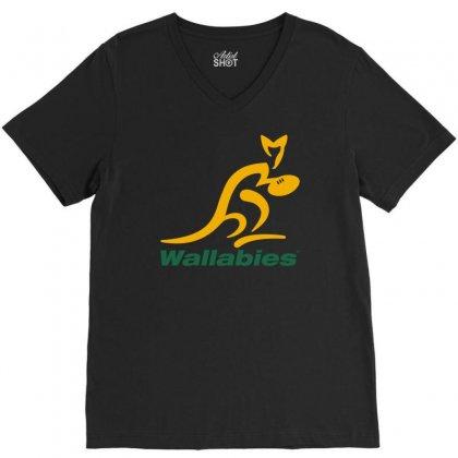 Wallabies Gold Logo V-neck Tee Designed By Mdk Art