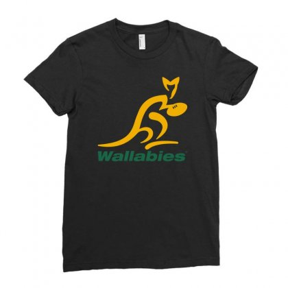 Wallabies Gold Logo Ladies Fitted T-shirt Designed By Mdk Art