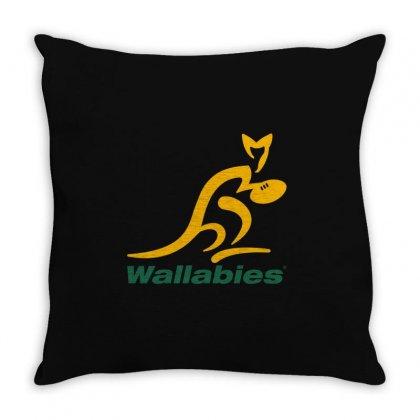 Wallabies Gold Logo Throw Pillow Designed By Mdk Art
