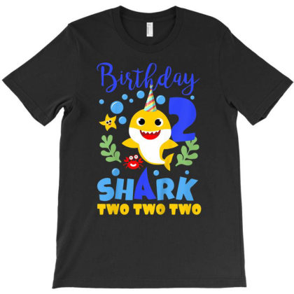 Kids Birthday Shark Baby For 2 Year Old Boy In Blue Two Two T-shirt Designed By Jonathon