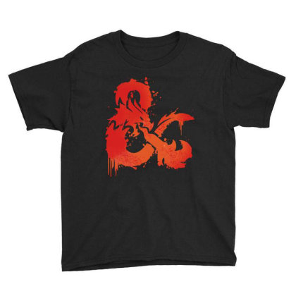 Dungeons And Dragons Flame Youth Tee Designed By Black And Pink
