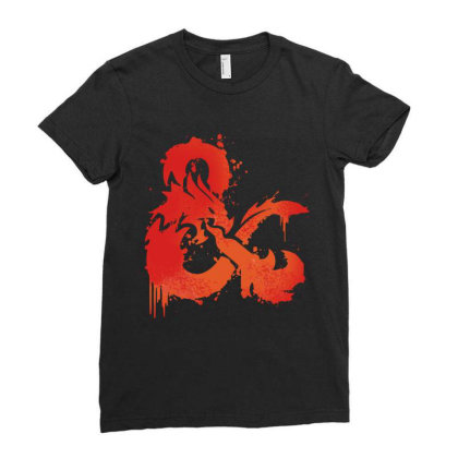 Dungeons And Dragons Flame Ladies Fitted T-shirt Designed By Black And Pink