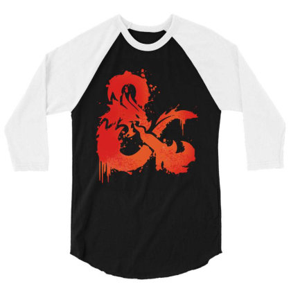 Dungeons And Dragons Flame 3/4 Sleeve Shirt Designed By Black And Pink