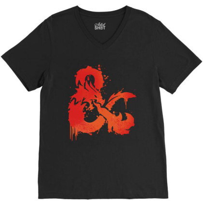 Dungeons And Dragons Flame V-neck Tee Designed By Black And Pink
