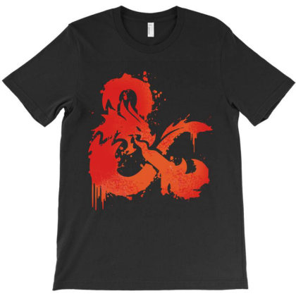 Dungeons And Dragons Flame T-shirt Designed By Black And Pink
