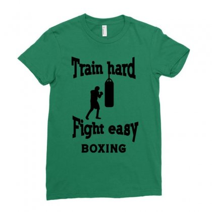 Train Hard Fight Easy Boxing Ladies Fitted T-shirt Designed By Tonyhaddearts