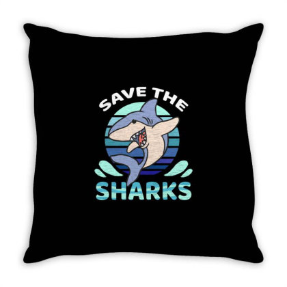 Save The Sharks For Shark Lover Throw Pillow Designed By Ngiart