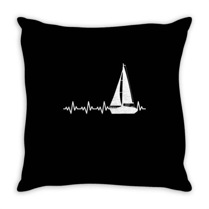Sailing Boat Heartbeat For Sailing Lover Throw Pillow Designed By Ngiart