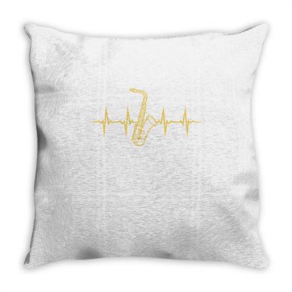 Saxophone Heartbeat For Saxophone Player Throw Pillow Designed By Ngiart