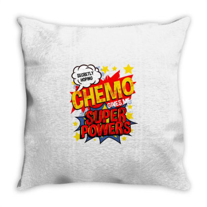 Secretly Hoping Chemo Gives Me Superpowers For Breast Cancer Awareness Throw Pillow Designed By Ngiart