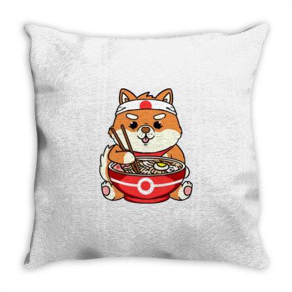 Shiba Inu Eating Ramen For Ramen Lover Throw Pillow Designed By Ngiart