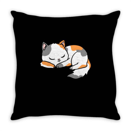 Sleeping Calico Cat For Cat Lover Throw Pillow Designed By Ngiart