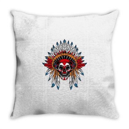 Skull Native American Chief For Native American Throw Pillow Designed By Ngiart