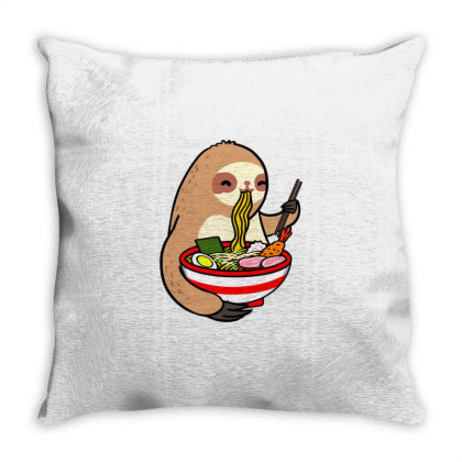 Sloth Eating Ramen For Ramen Lover Throw Pillow Designed By Ngiart