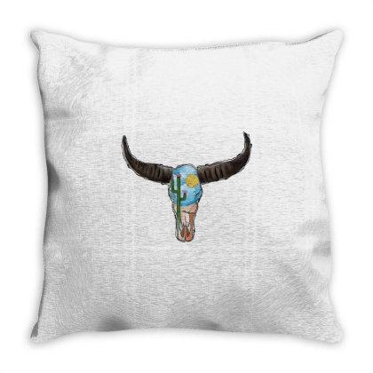 Desert Bull Skull Throw Pillow Designed By Badaudesign