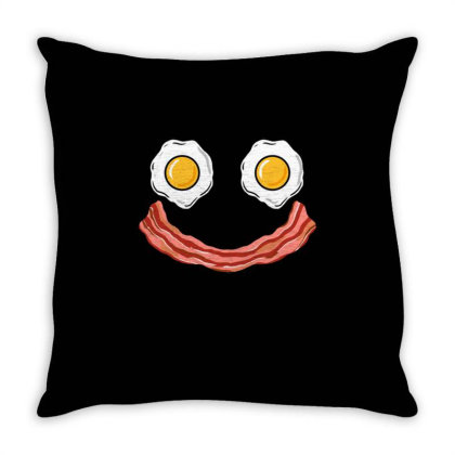 Smiling Egg And Bacon For Bacon & Eggs Lover Throw Pillow Designed By Ngiart