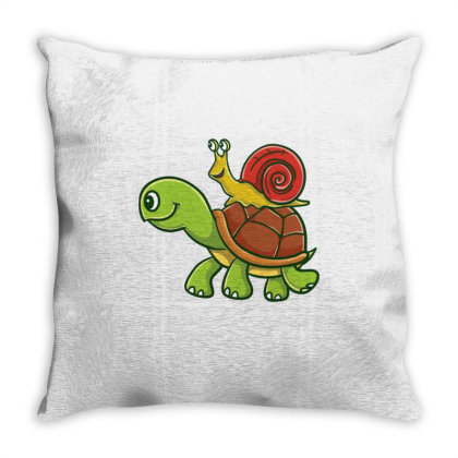 Snail Riding A Turtle For Turtle Lover Throw Pillow Designed By Ngiart