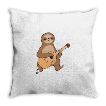 Sloth Playing Guitar For Guitar Player Throw Pillow Designed By Ngiart