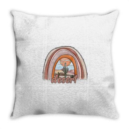 Desert Rainbow Throw Pillow Designed By Badaudesign
